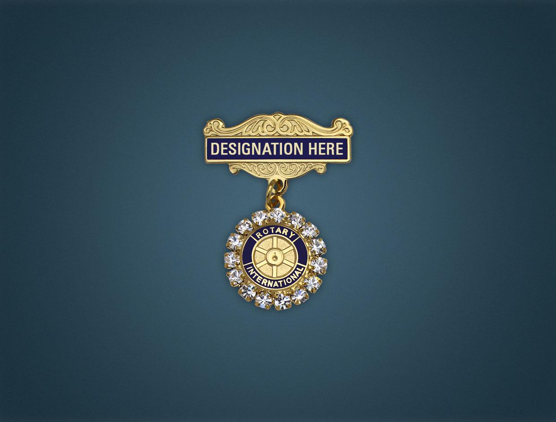 Rotary Charter Member Stone Lapel Pin